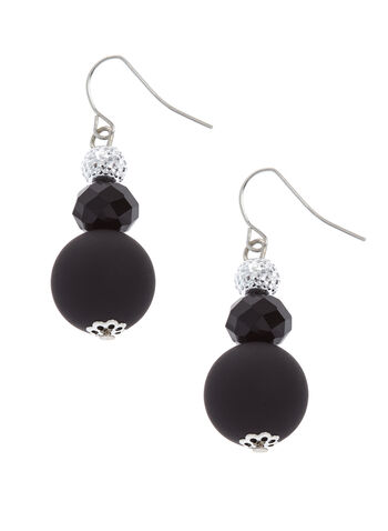 Tiered Round Stone Earrings, Black, hi-res