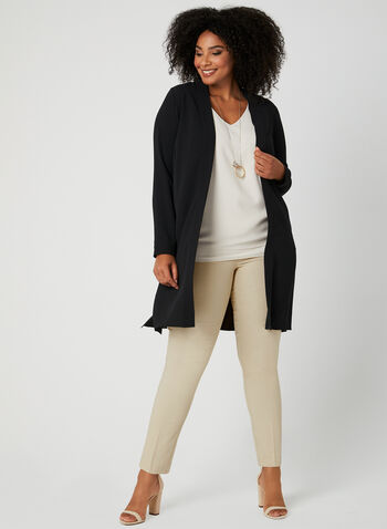 Open Front Duster Blouse, Black,  long sleeves, crepe, shawl collar, spring 2019