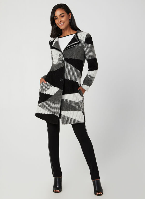 Patchwork Tweed Coat, Black