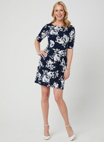 Robe à imprimé floral et manches coude, Bleu, hi-res,  jersey, encolure ronde, plissé, évasée, printemps 2019