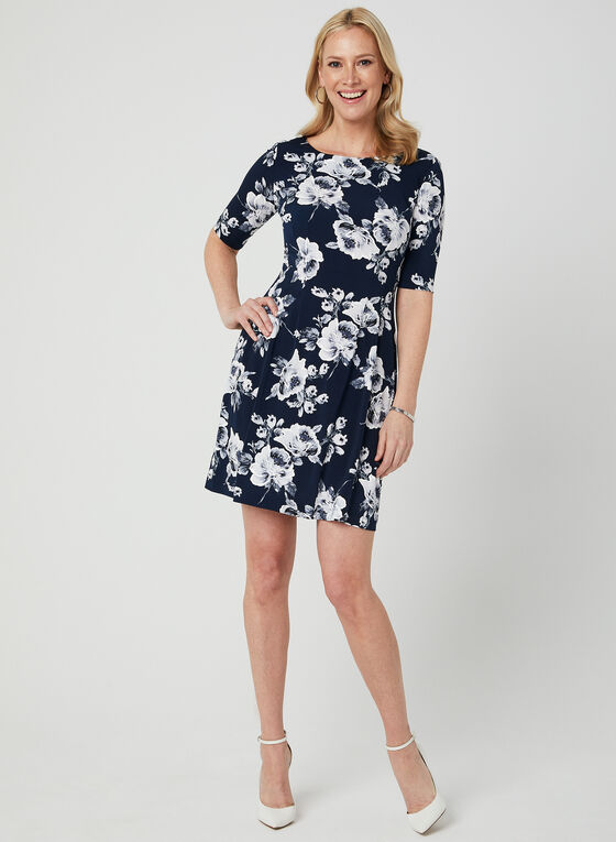 Floral Print Elbow Sleeve Dress, Blue