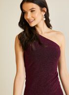 Metallic Shimmer One Shoulder Dress, Purple