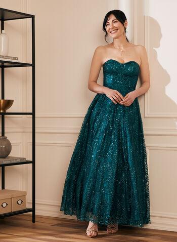 Bustier Glitter Ball Gown, Blue,  prom dress, ball gown, strapless, bustier, sweetheart, glitter, crinoline, floor length, train, spring summer 2021