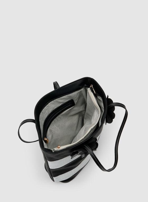 Stripe Print Tote Bag, Black, hi-res