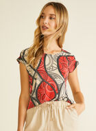 Abstract Print Ruffle Sleeve top, Red