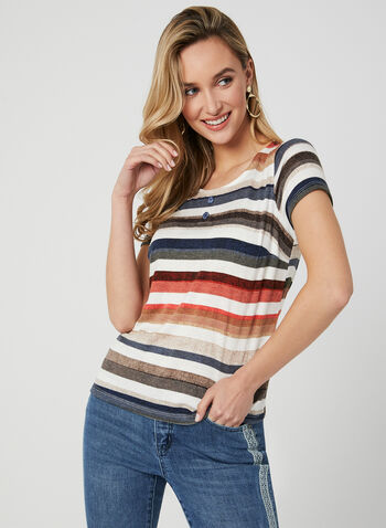 Stripe Print Ribbed Top, Multi, hi-res