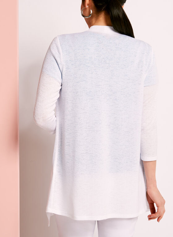 3/4 Sleeve Knit Cascade Top, White, hi-res