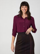 ¾ Sleeve Button-Down Top, Red, hi-res