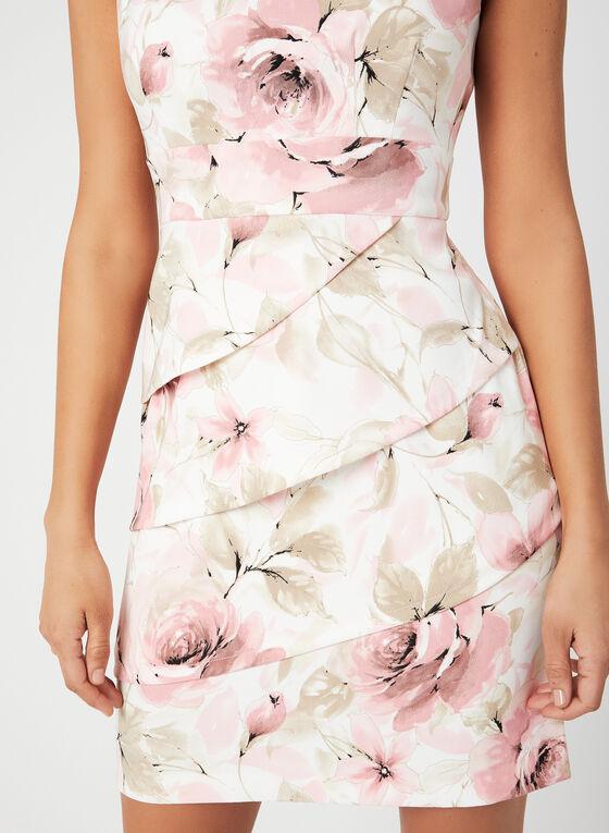 Robe ajustée à imprimé floral, Rose