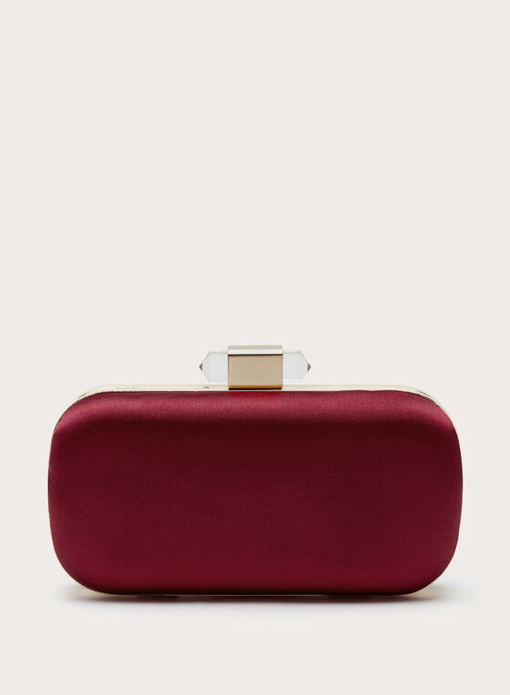Pyramid Stone Satin Clutch, Red, hi-res