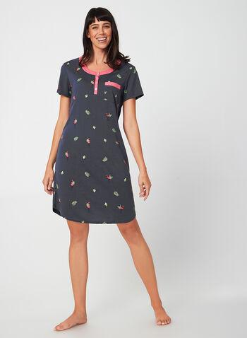 Claudel Lingerie - Chemise de nuit imprimée, Gris,  automne hiver 2019, Claudel Lingerie, chemise de nuit, pyjama, motif, imprimé