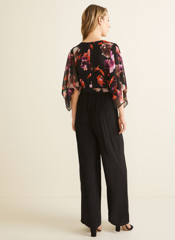 Flower Print Jumpsuit , Black