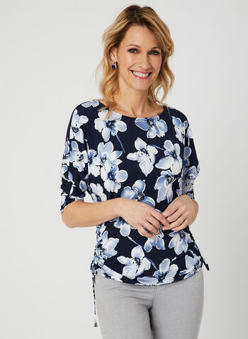 Floral Print Dolman Sleeve Top, Blue, hi-res