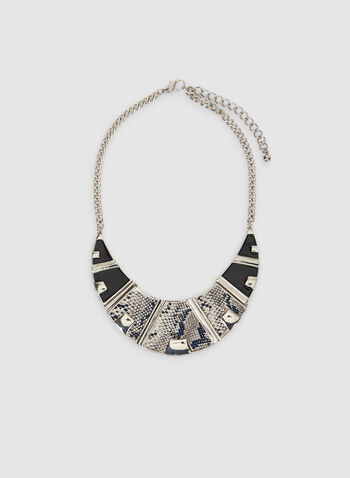 Snake Front Necklace, Black, hi-res,  snakeskin, print, snakeskin print, python, necklace, chain, halfmoon, fall 2019, winter 2019