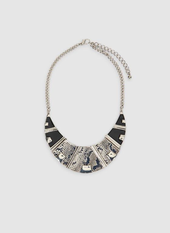 Snake Front Necklace, Black