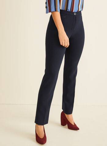 High Rise Straight Leg Pants, Blue,  spring 2020, summer 2020, pants, straight leg pants, high rise pants, comfortable, dressy pants, signature fit