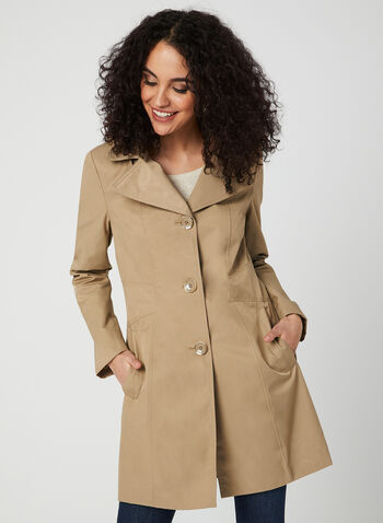 Anne Klein - Notch Collar Coat, Brown, hi-res,  spring 2019