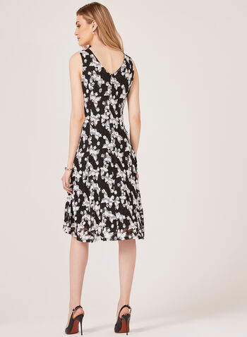 Floral Print Midi Lace Dress, Black, hi-res