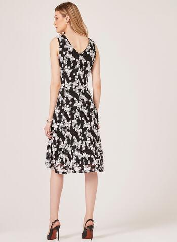 Floral Print Midi Lace Dress, Black, hi-res