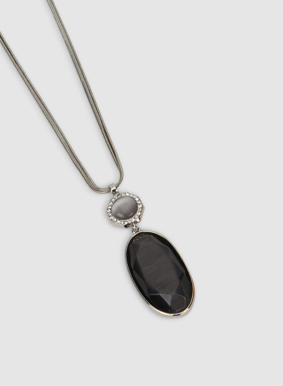 Long Pendant Necklace, Grey, hi-res