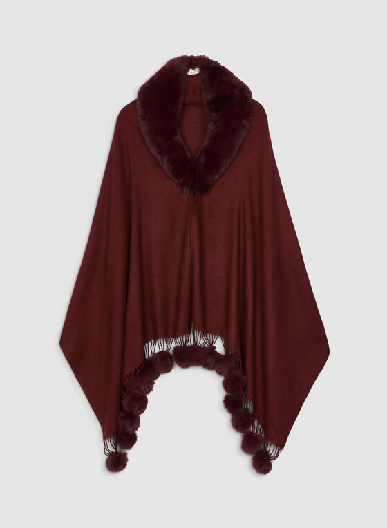 Faux Fur Trimmed Poncho, Red