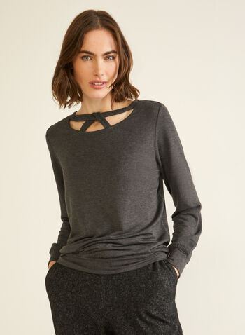Long Sleeve Cutout Detail Top, Grey,  top, cutout detail, long sleeves, fall winter 2020
