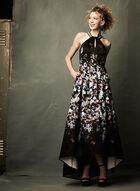 Fit & Flare Halter Dress, Black, hi-res