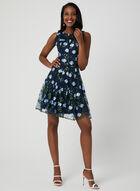 Floral Mesh Fit & Flare Dress, Blue, hi-res