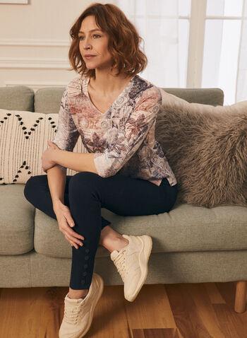 T-shirt fleuri à dentelle crochet au dos, Bleu,  t-shirt, fleurs, manches 3/4, dentelle crochet, automne hiver 2020