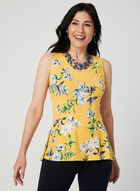 Floral Print Sleeveless Top, Yellow, hi-res