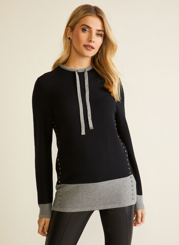 Two Tone Colour Block Pullover, Black,  fall winter 2020, pullover, sweater, ties, tie details, knitwear, long sleeve, colour block, tunic, stud, metal, metallic