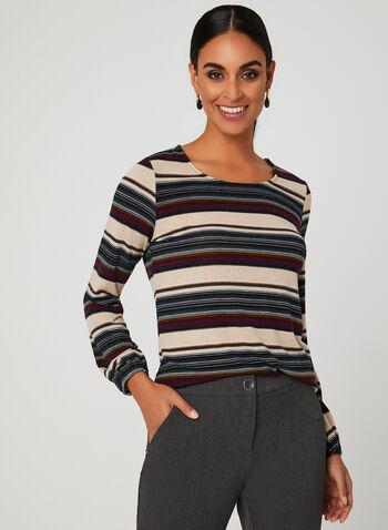 Haut rayé en tricot à manches longues, Multi, hi-res