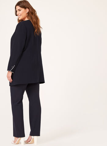 Contrast Open Front Jacket, Blue, hi-res