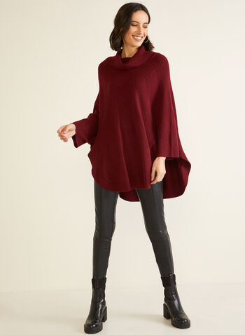 Shawl Collar Knit Poncho, Red,  fall winter 2020, poncho, sweater, knit, shawl collar, holiday
