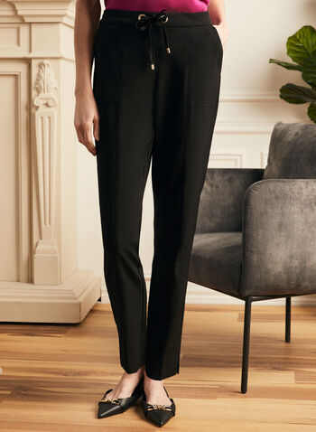Modern Fit Straight Leg Pants, Black,  pants, straight leg, modern, drawstring, pleats, spring summer 2021