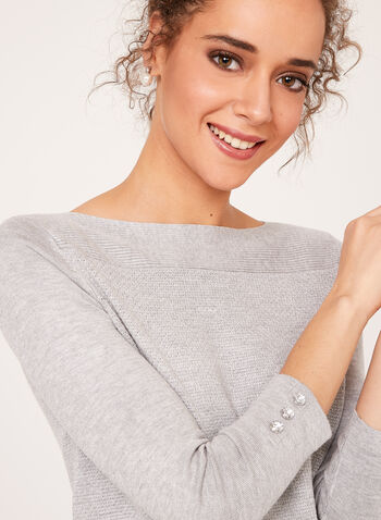 ¾ Sleeve Lurex Knit Sweater, Silver, hi-res