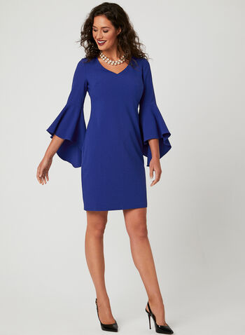 Jessica Howard - Bell Sleeve Dress, Blue, hi-res