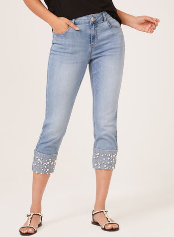 Pearl Detail Denim Capris, Blue, hi-res
