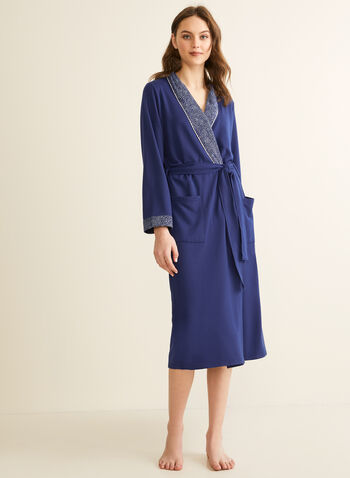 Claudel Lingerie - Contrast Trim Robe, Blue,  robe, long, long sleeves, contrast, pockets, stretchy, abstract print, spring summer 2020