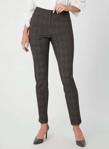 Modern Fit Straight Leg Pants, Grey, hi-res,  plaid print, mid rise, ankle length, contour waist, shaped hips, fall 2019, winter 2019
