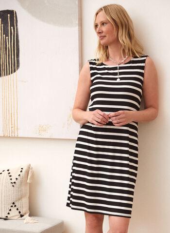 Stripe Print Dress, Black,  spring summer 2021, dresses, back straps, crossed, boat neck, round neck, stripes, made in Canada