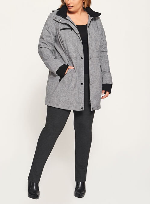 Manteau à coquille souple et détails tricot, Gris, hi-res