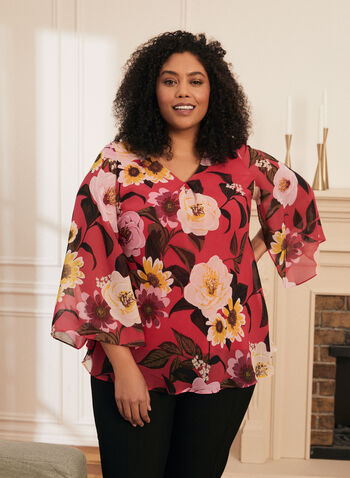 Blouse fleurie à manches longues, Multi,  blouse, haut, fleurs, manches longues, mousseline, plis, printemps été 2021
