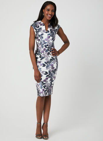 Floral Print Midi Dress, Purple,  scuba, short sleeves, sheath, metallic, spring 2019