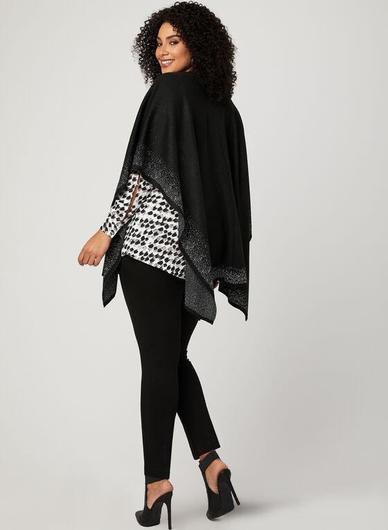 Metallic Trim Open Front Poncho, Black, hi-res