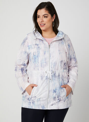 Hooded Packable Anorak, Blue, hi-res