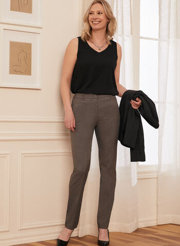 Louben - Pantalon à jambe droite, Gris,  pantalon, fait au canada, poches, jambe droite, printemps été 2021
