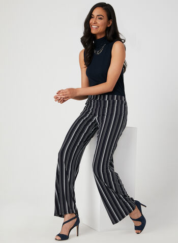 Stripe Print Wide Leg Pants, Blue, hi-res,  wide leg, pull-on, stripe print, fall 2019, winter 2019