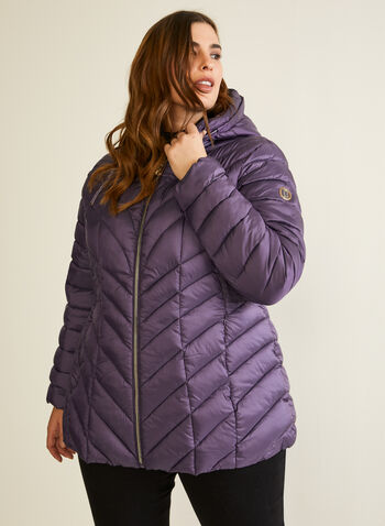 Bernardo - EcoPlume™ Quilted Coat, Purple,  coat, quilted, chevron, vegan, down, hood, ecoplume, fall winter 2020