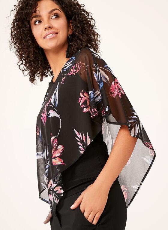 Floral Print Chiffon Poncho Top, Black, hi-res